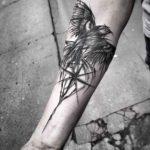 Compass Bird Tattoo on Arm