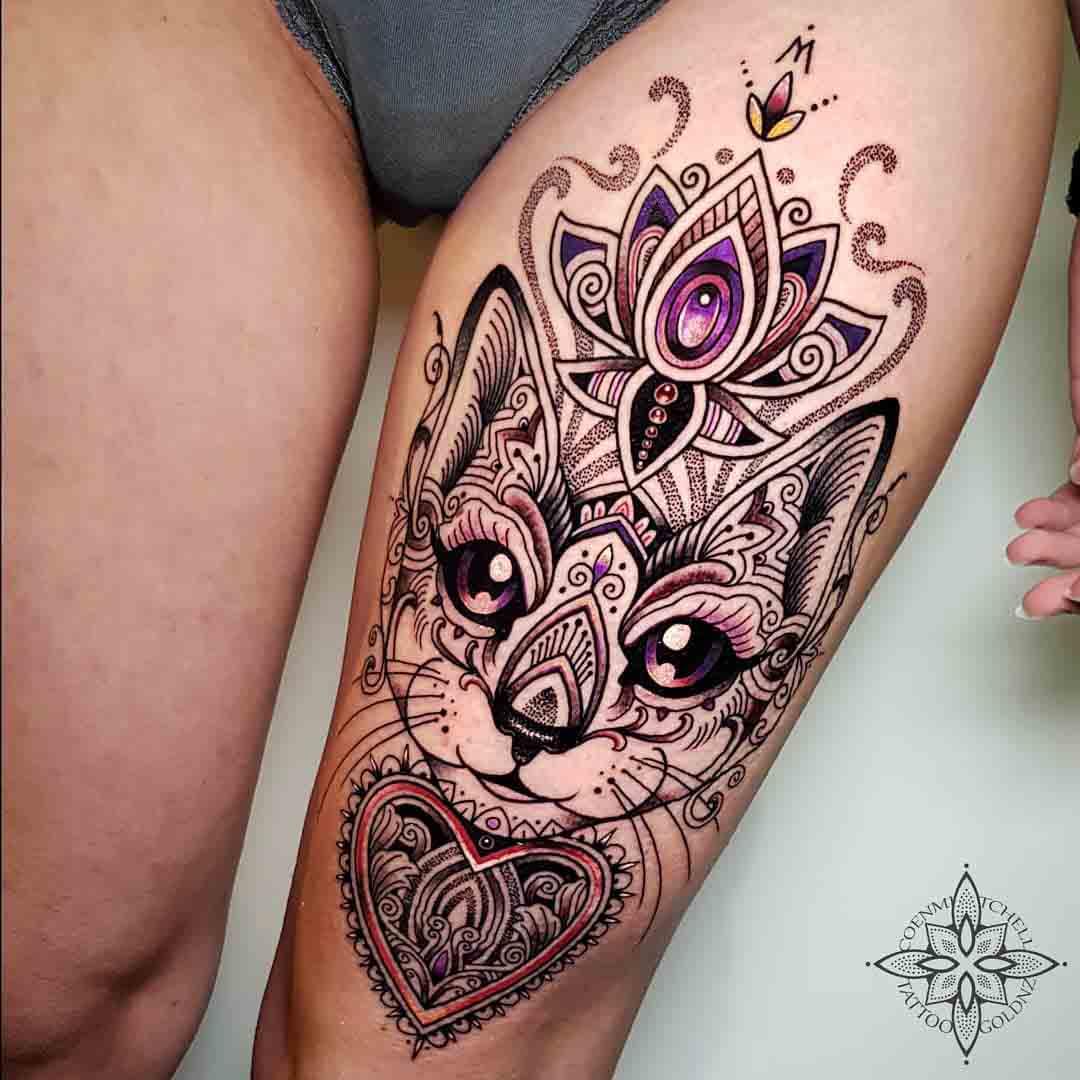 thigh tattoo cat ornamental
