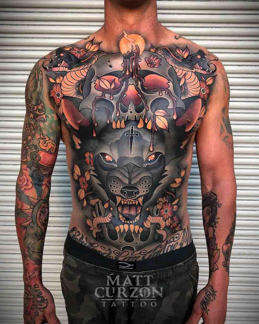 neo-traditional tattoo full torso