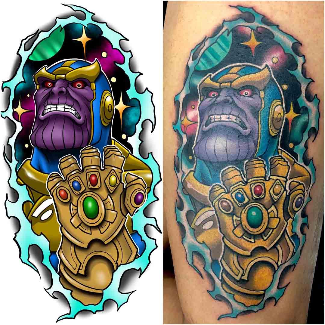thanos tattoo new school avengers