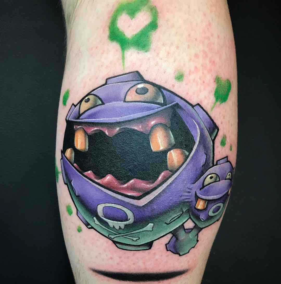weezing tattoo on calf
