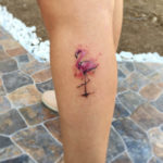 Small Flamingo Tattoo on Leg
