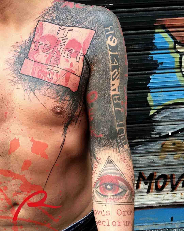 chest shoulder sleeve trash polka tattoo