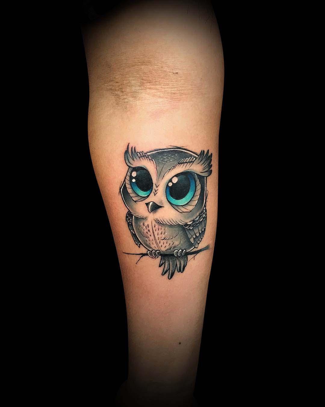 cute baby owl tattoo