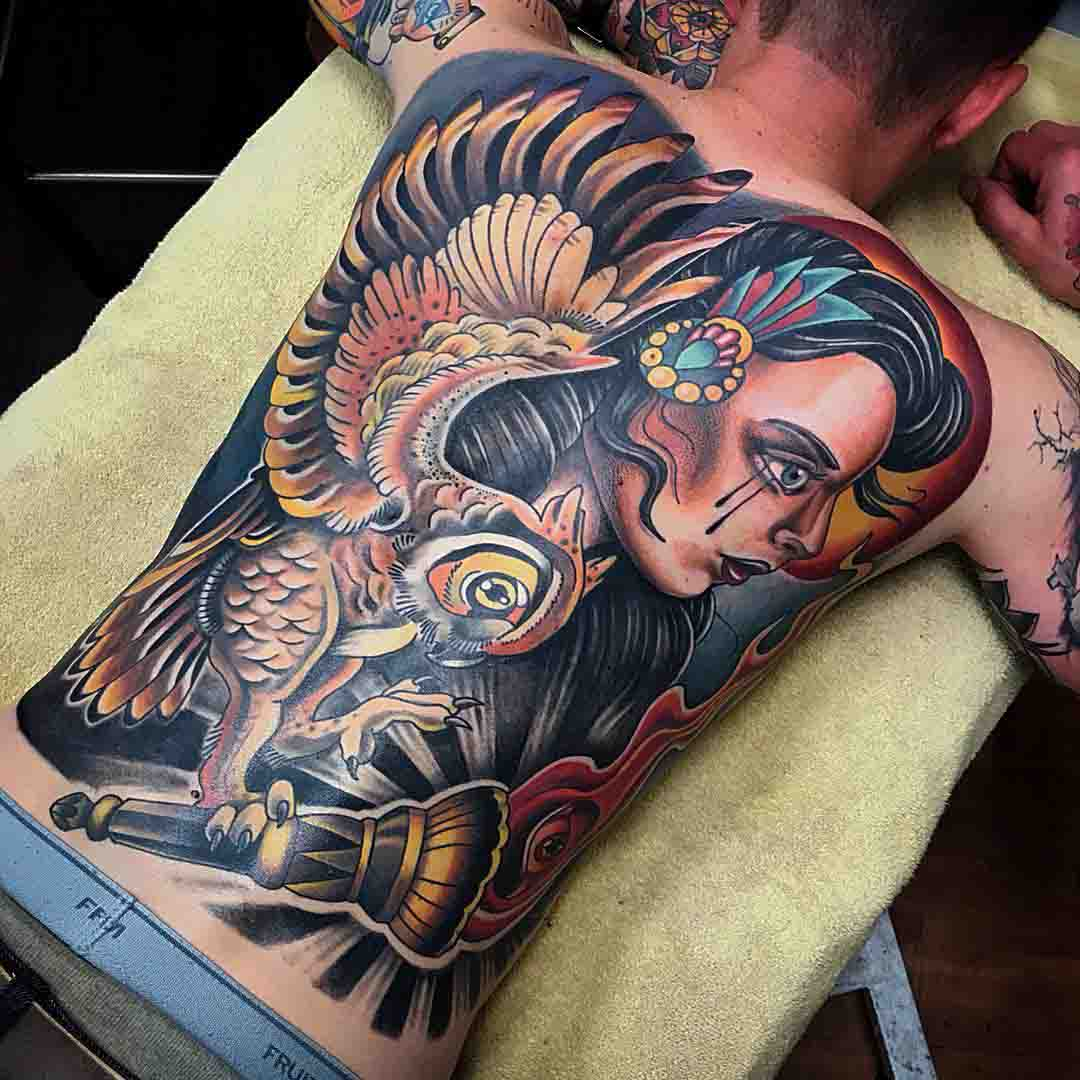 full back neo-traditional tattoo owl