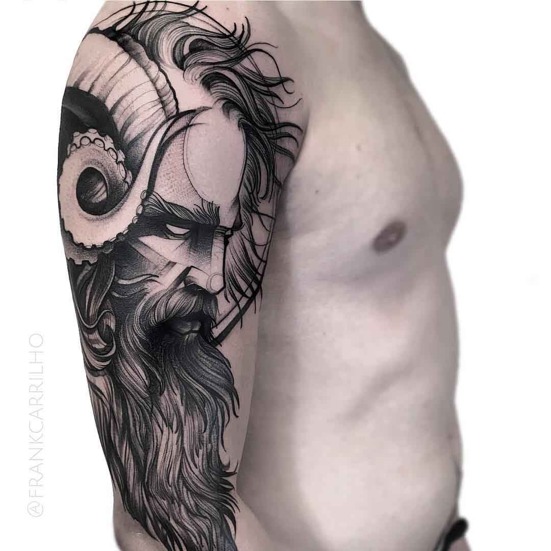 poseidon tattoo on shoulder