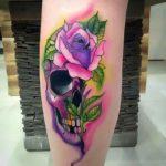 Purple Skull Rose Tattoo