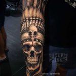 Arm Tattoo Indian Skull
