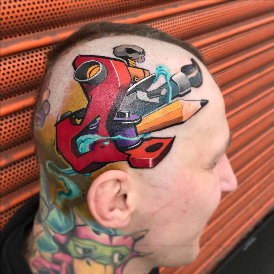 artistic head tattoo