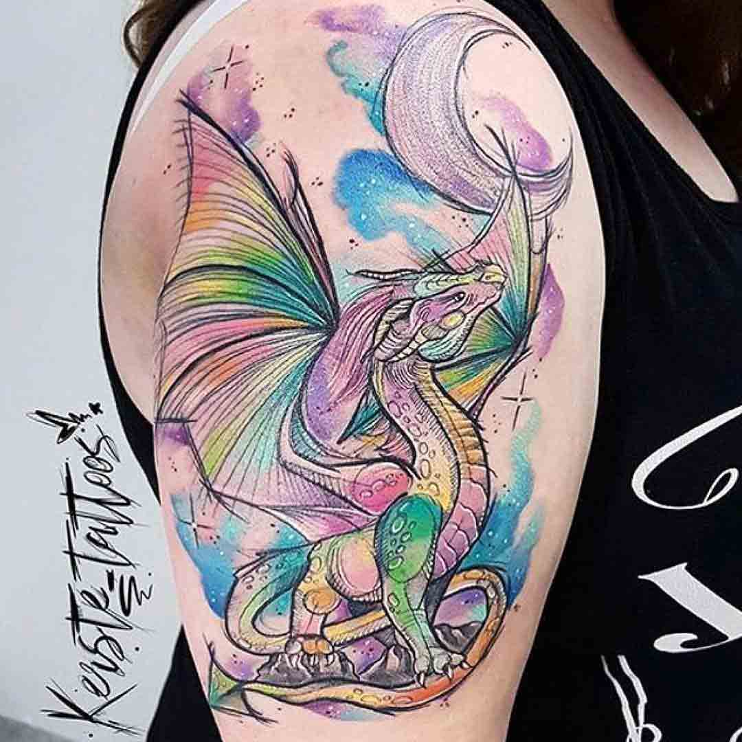 shoulder tattoo dragon colorful