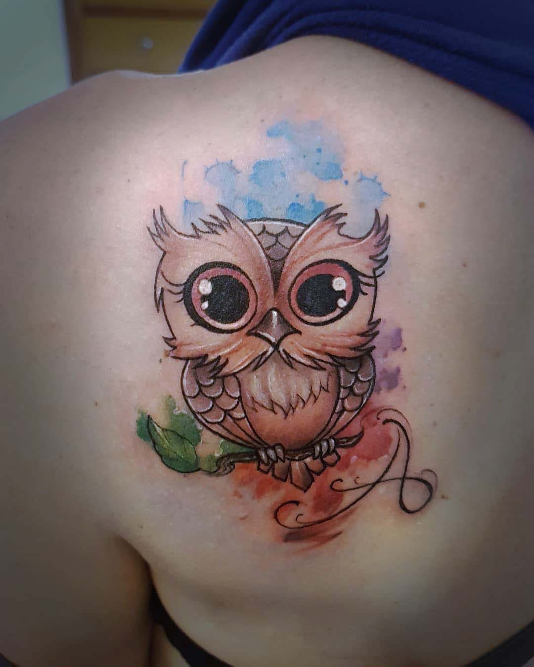 shoulder blade tattoo owl cute