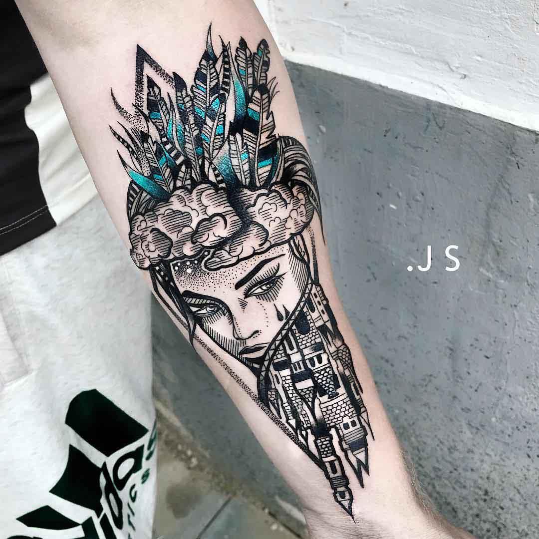 arm tattoo castle girl