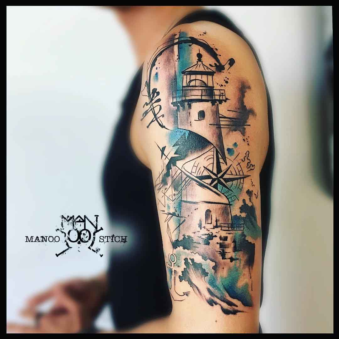 lighthouse tattoo on shoulder