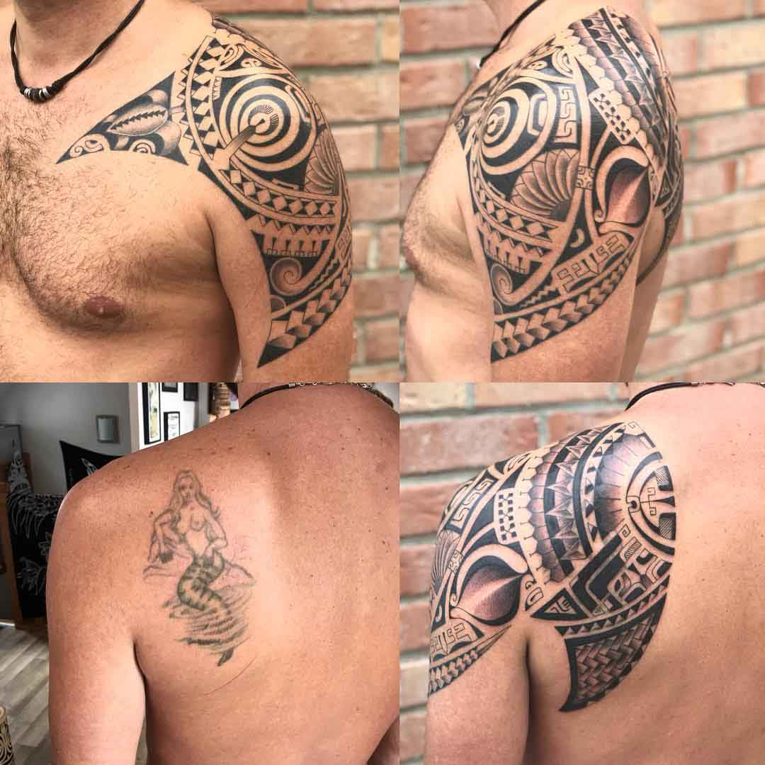 shoulder tattoo maori cover up
