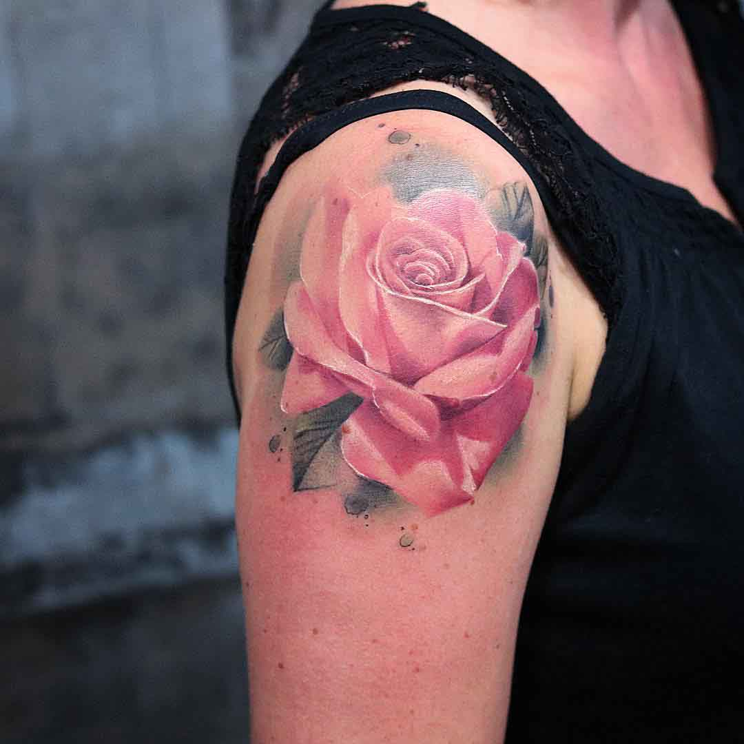 shoulder tattoo pink rose