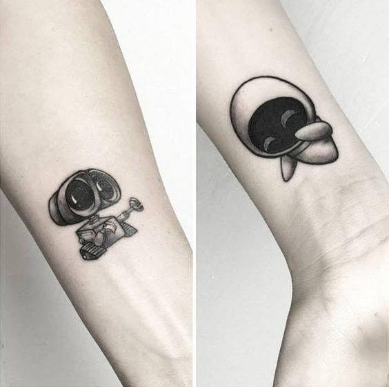 couple tattoo wall-e and eva