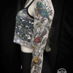 Birds and Flowers Tattoo Sleeve