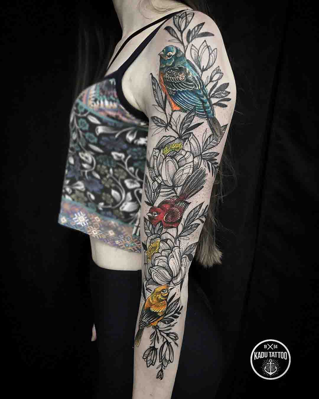 tattoo sleeve birds and flowers