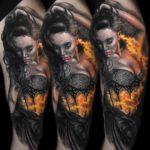 Flamming Girl Tattoo
