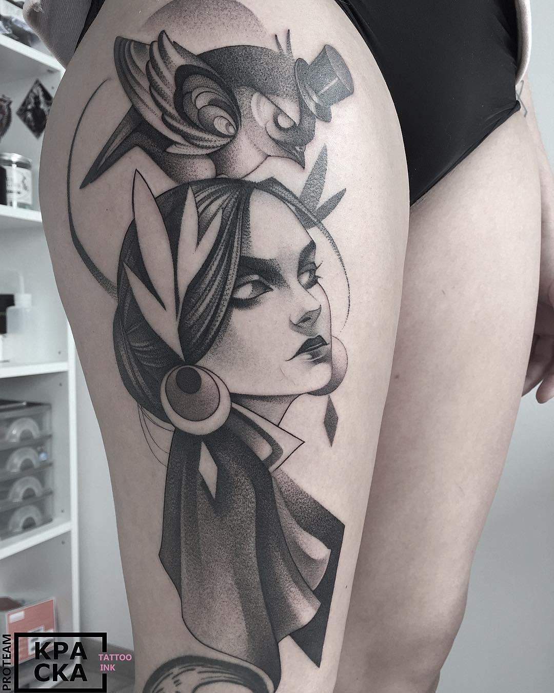 thigh tattoo dotwork bird and girl