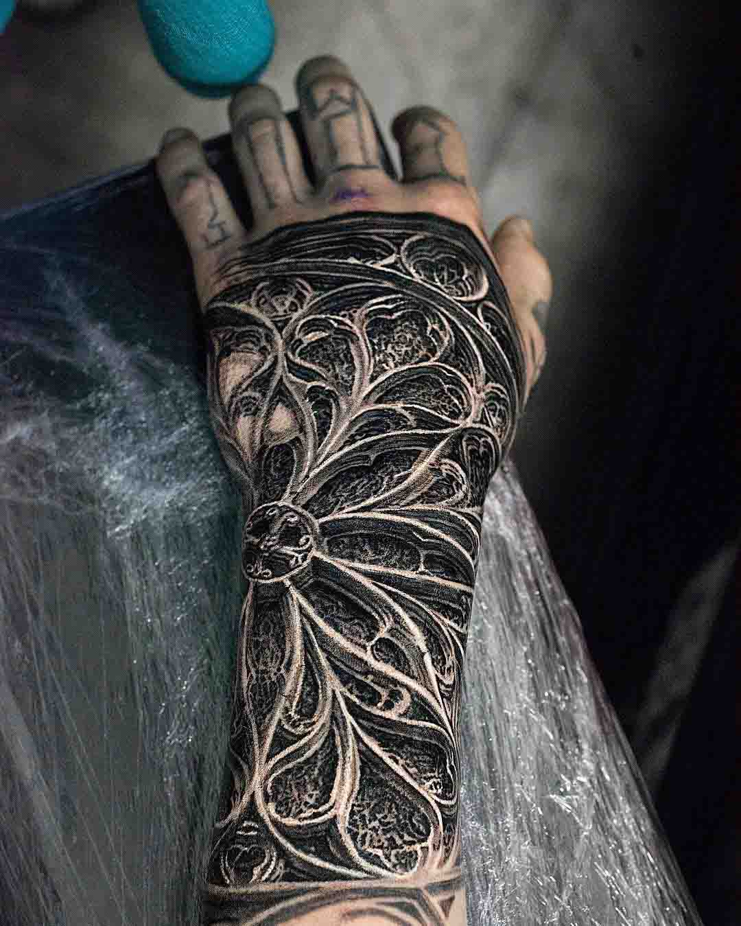 hand tattoo stained-glass