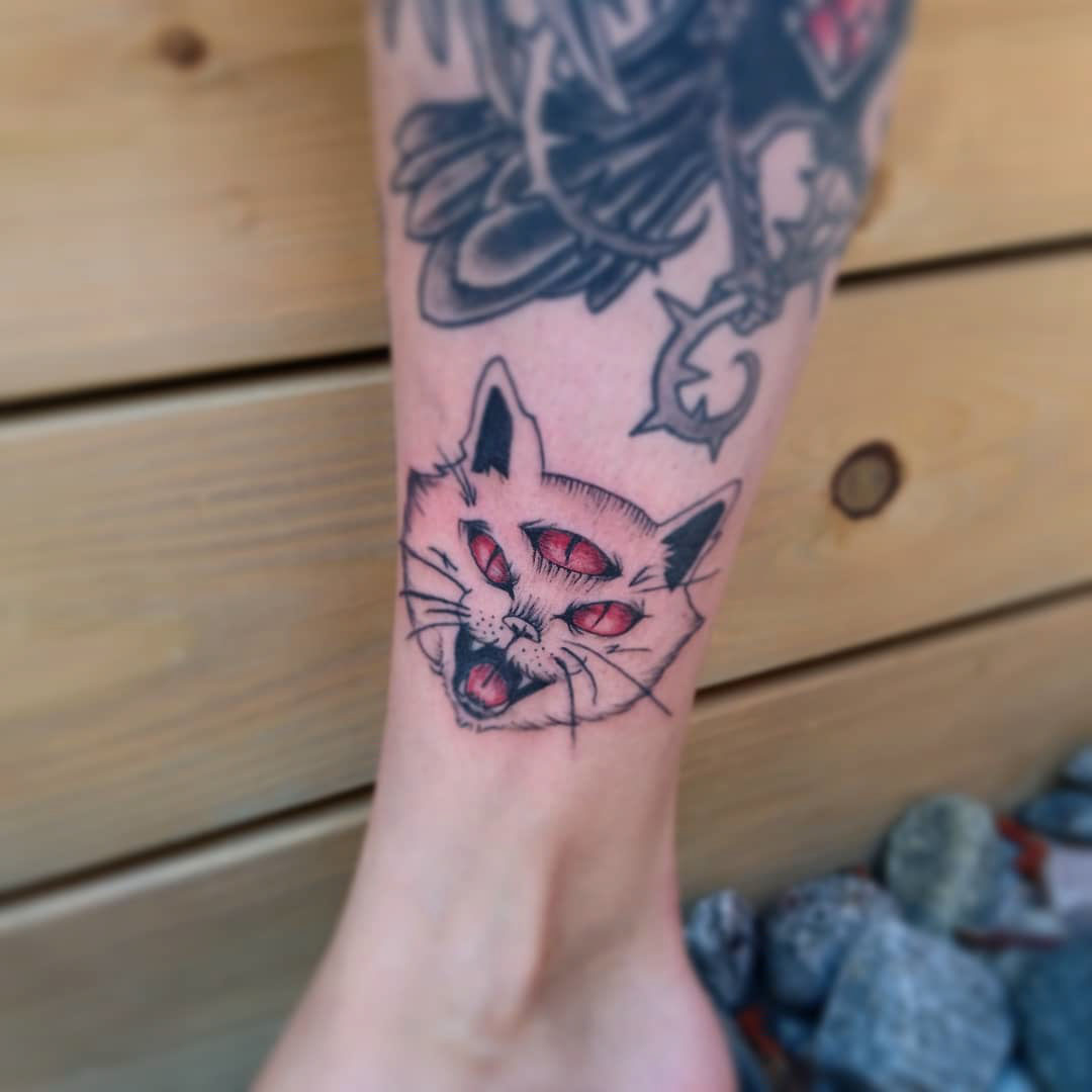 ankle tattoo cat