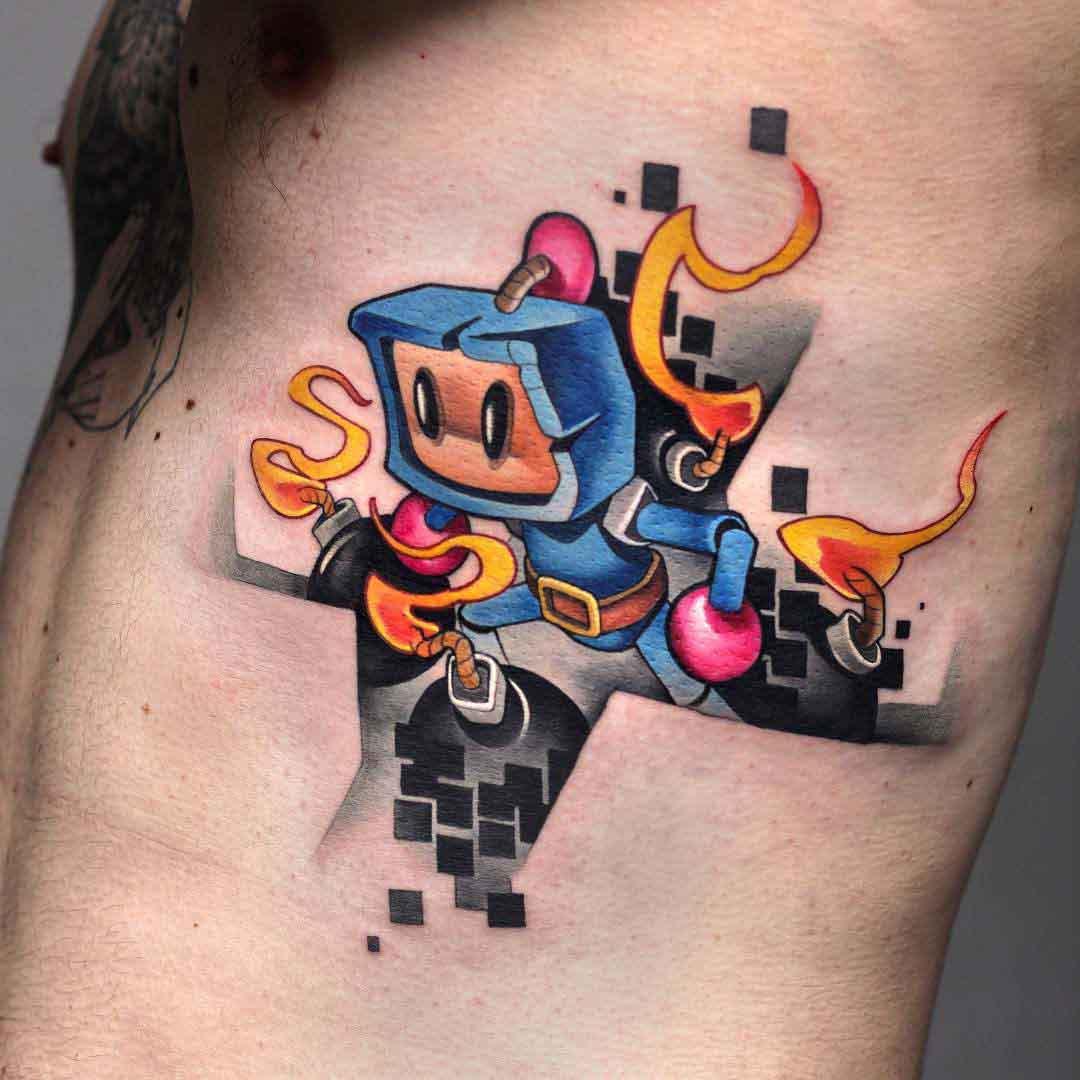 rib tattoo bomberman