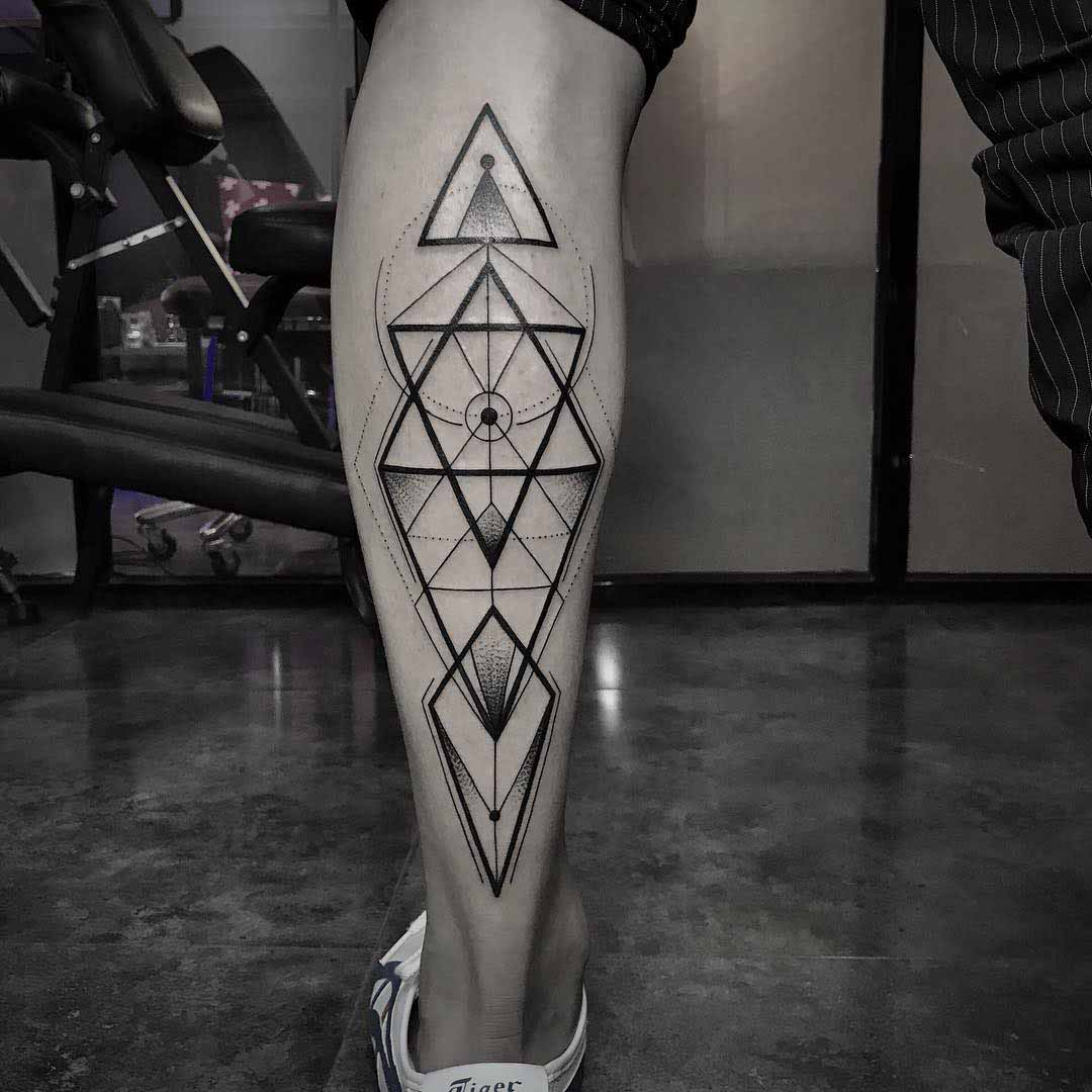 dotwork geometry tattoo on calf