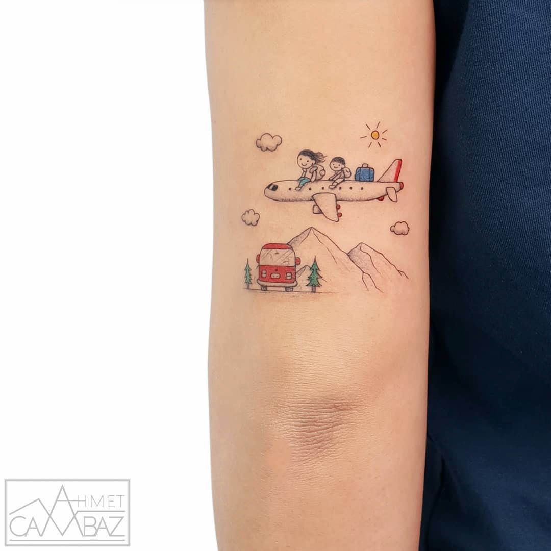 back arm tattoo travel