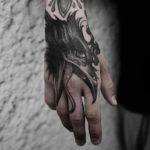 Hand Tattoo Crow Head