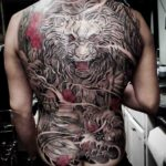Oriental Tiger and Sharks Tattoo on Back