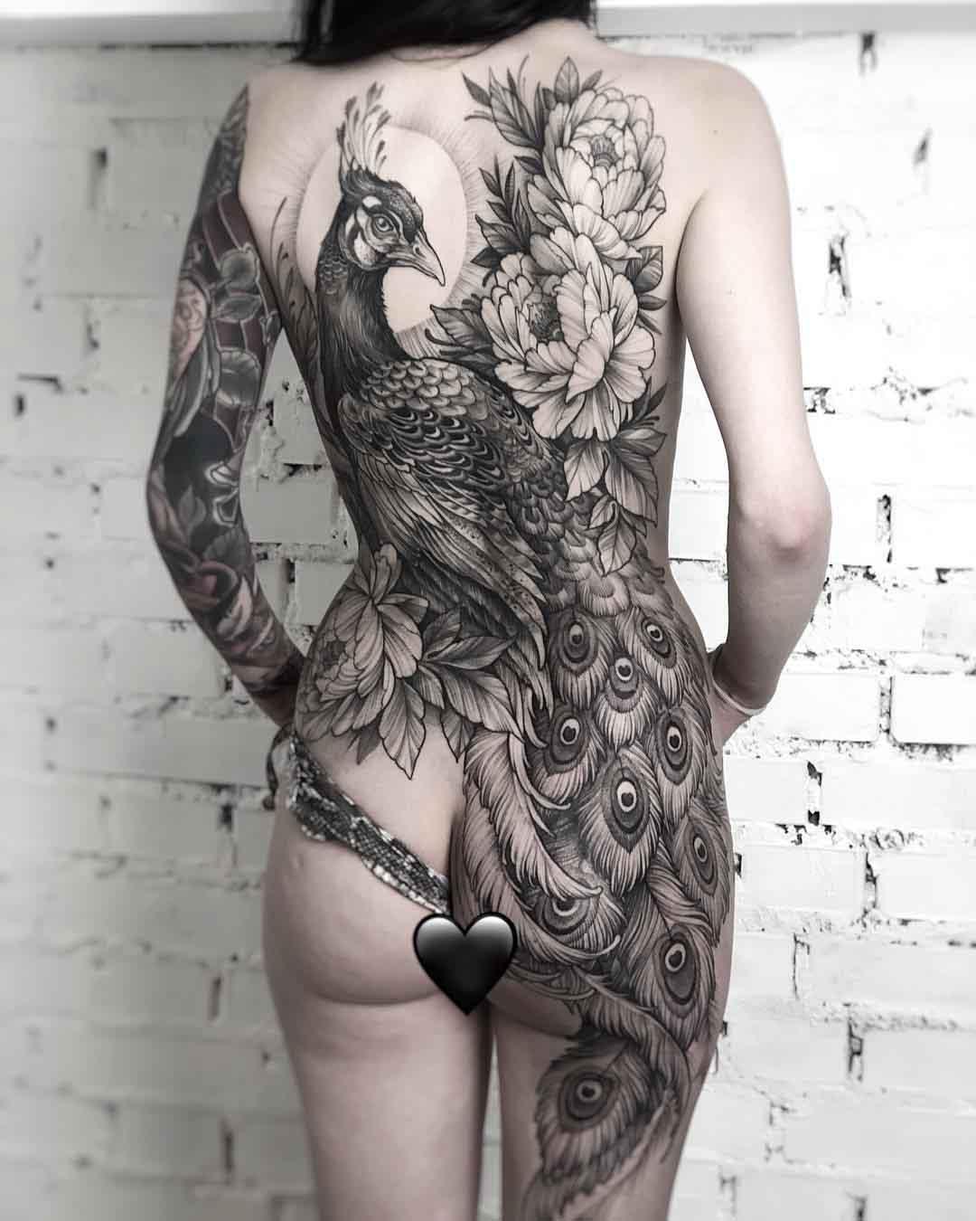 full back tattoo peacock