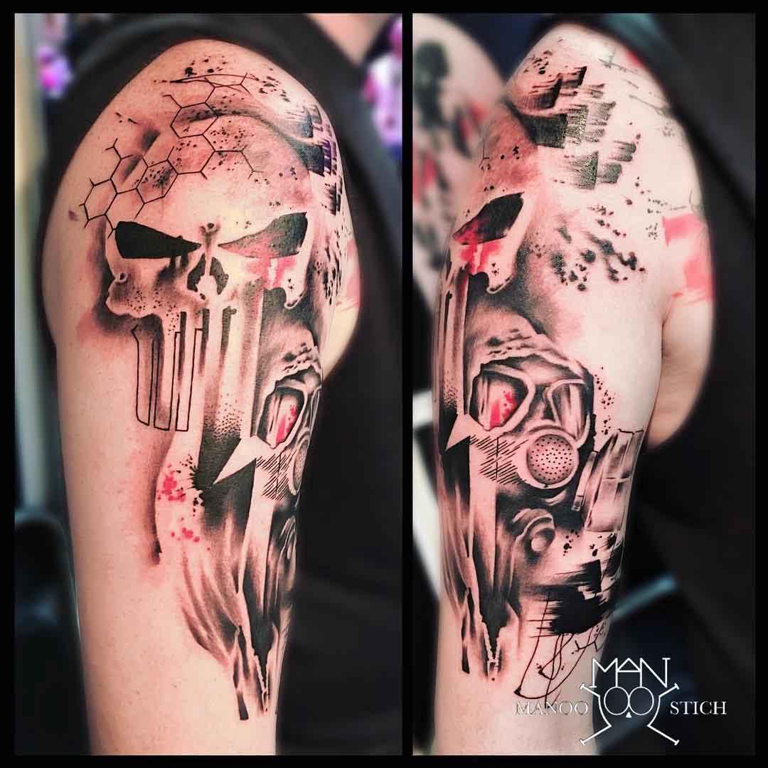 shoulder tattoo punisher trash polka style