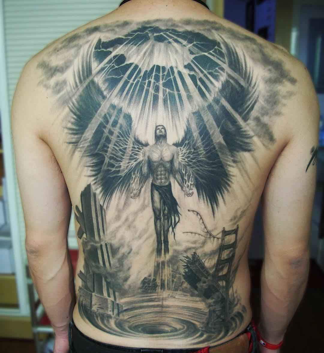 back tattoo angel