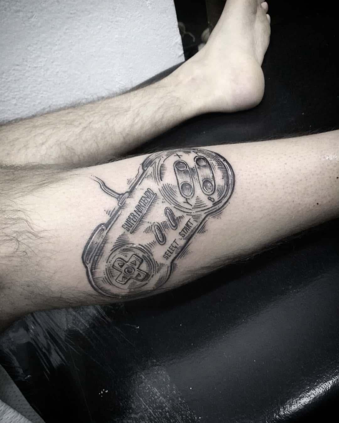 gamer tattoo gamepad nintendo