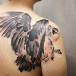 Back Shoulder Hawk Tattoo