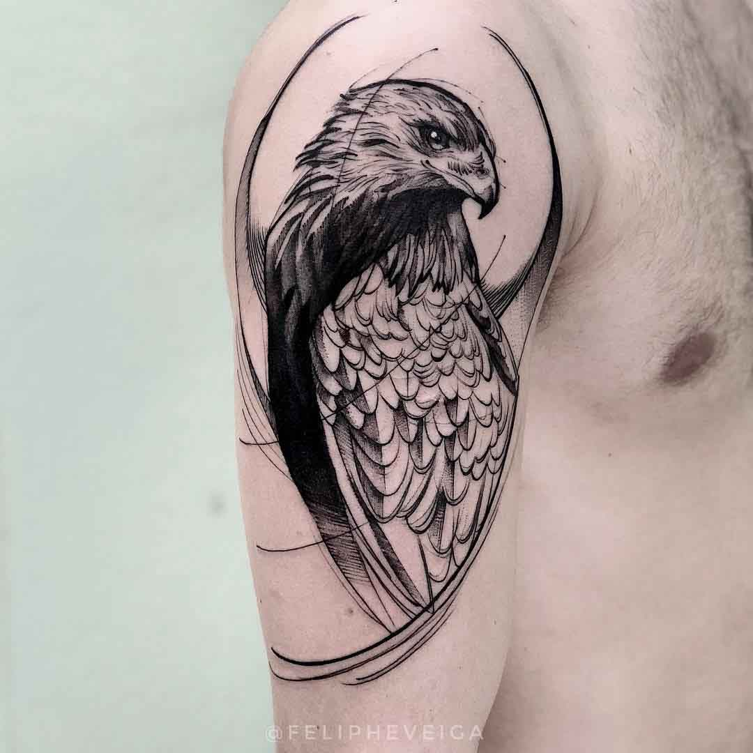 shoulder tattoo hawk