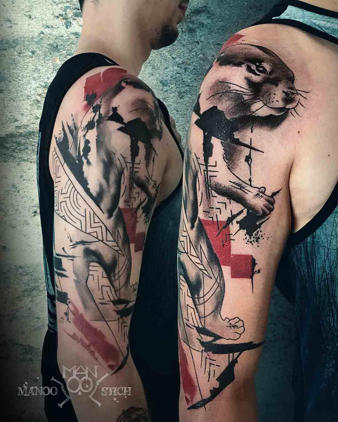 trash polka tattoo otter