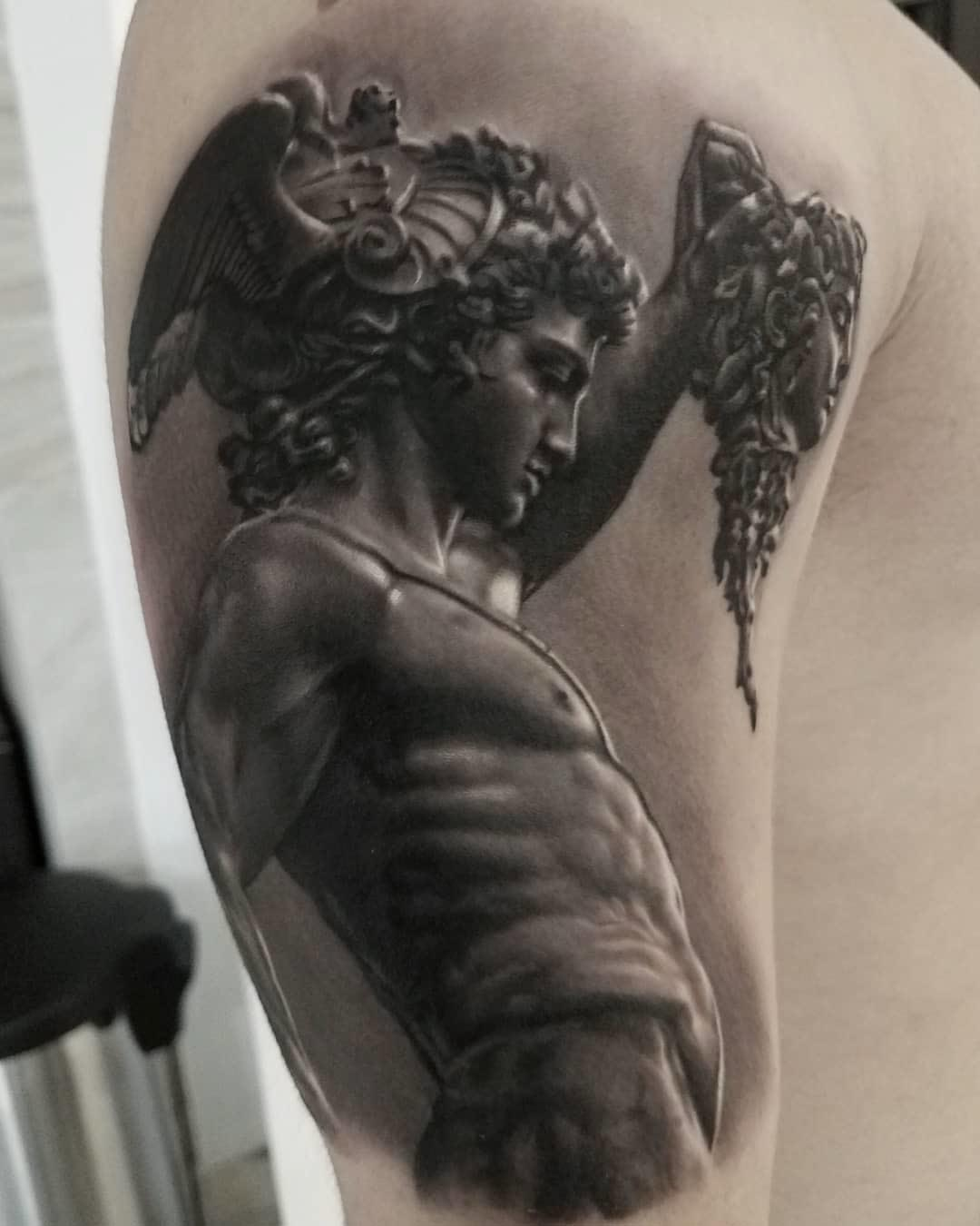 black and grey tattoo perseus tattoo with medusa head