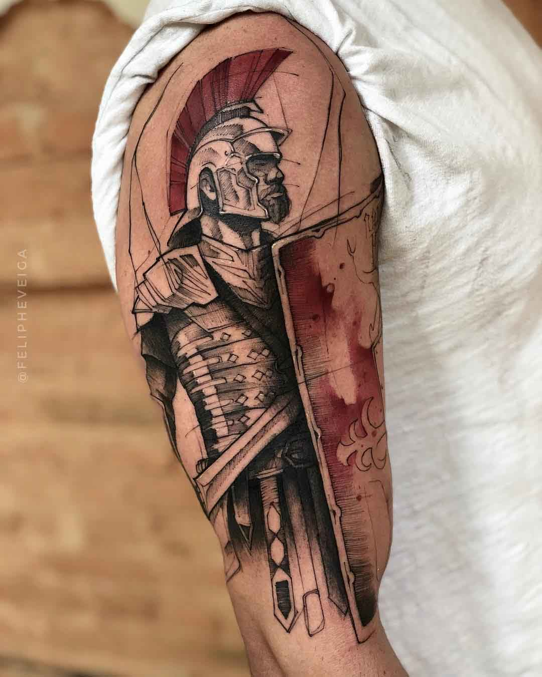 shoulder tattoo roman soldier