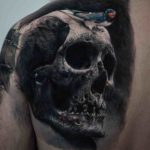 Big Shoulder Blade Skull Tattoo