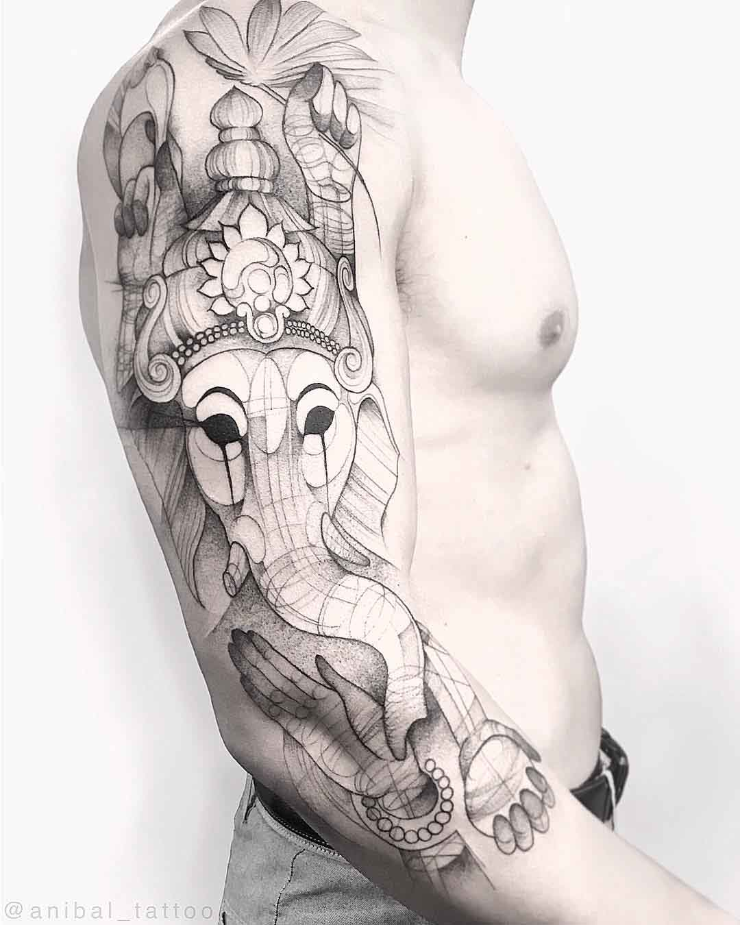 shoulder tattoo sleeve ganesha
