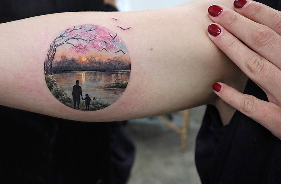 sunset landscape tattoo