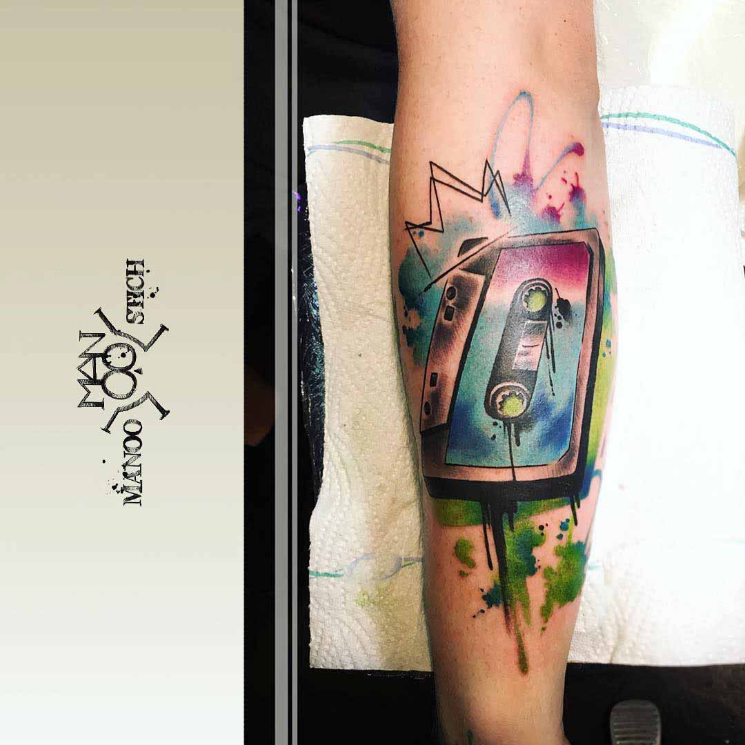 cassette tattoo watercolor style