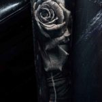 3D Grey Rose Tattoo