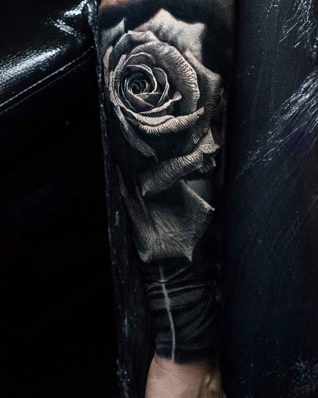 rose tattoo on arm 3D