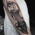 Big Candle Arm Tattoo