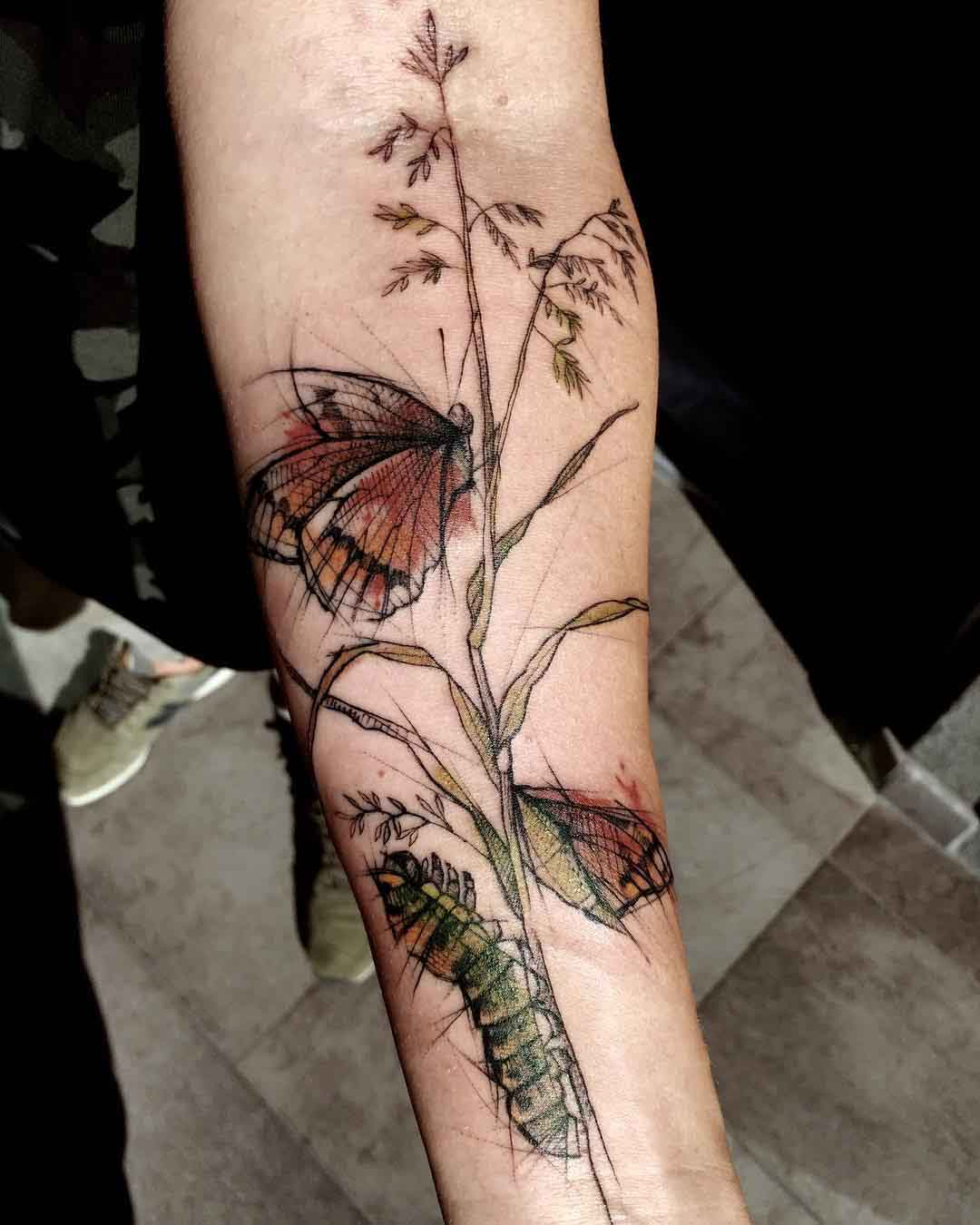 butterfly and catterpillar tattoo