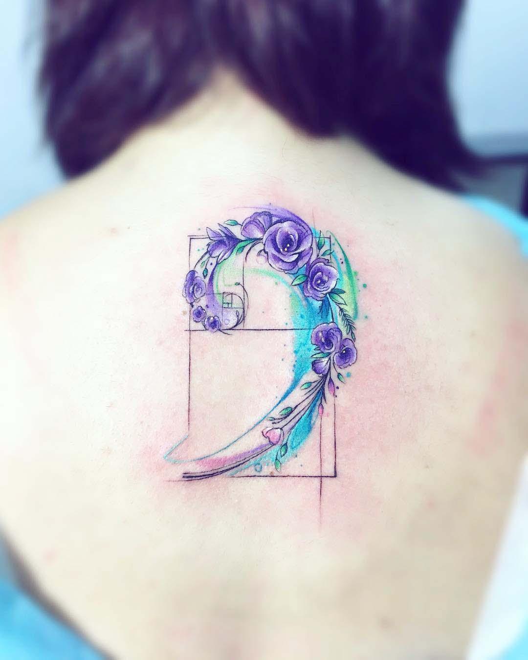 back tattoo flowers golden spiral