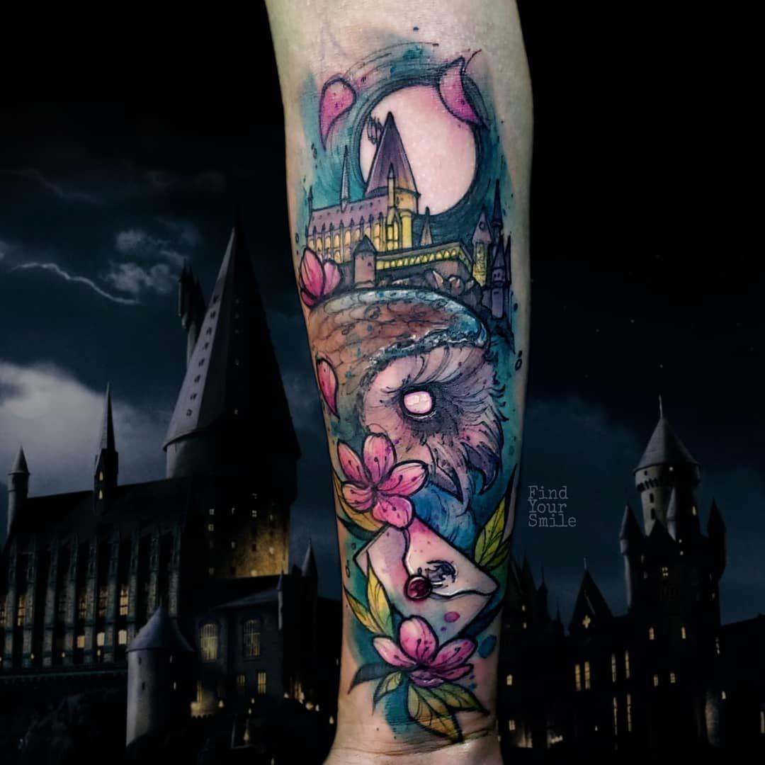 watercolor tattoo hogwarts